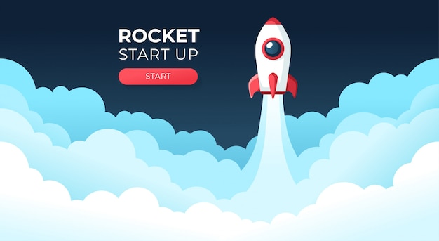 Rocket launch in the sky flying over clouds. space ship in smoke clouds. business concept. start up template. horizontal background. simple modern cartoon design. flat style  illustration. Premium Vector