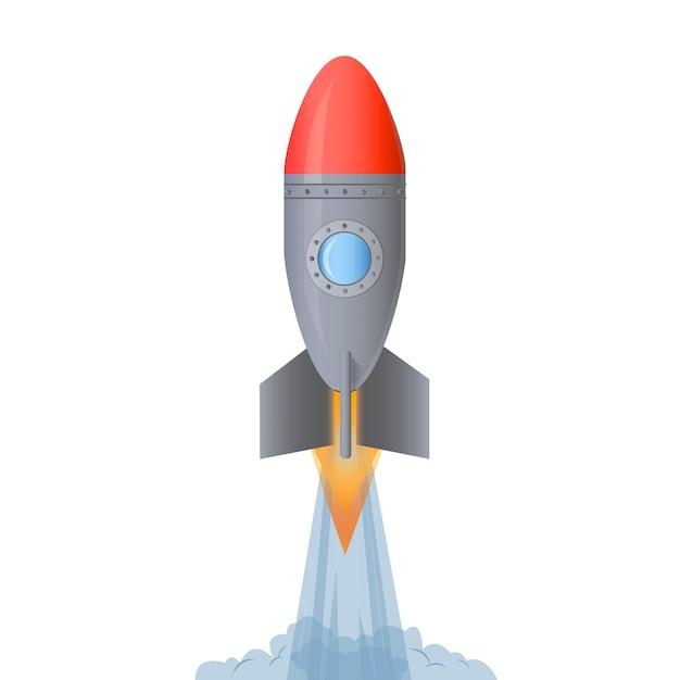 Rocket Launch. Start Up Concept. Cartoon Vector
