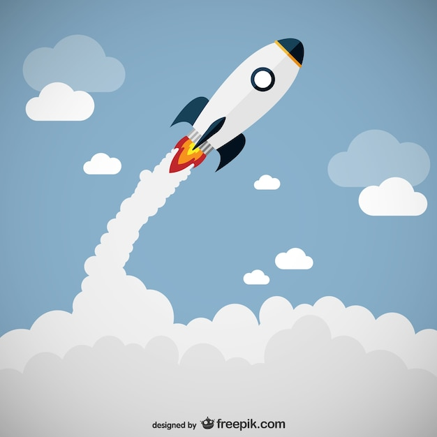 Rocket launch vector Free Vector