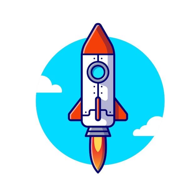 ロケット発射漫画アイコンイラスト。航空輸送アイコンの概念 Premiumベクター
