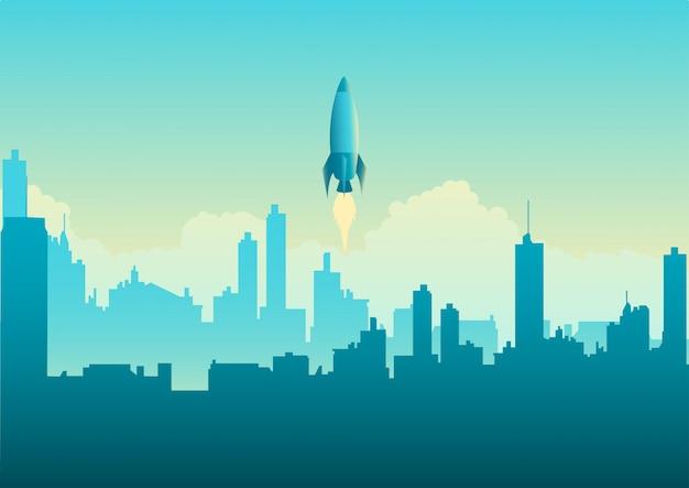 Rocket launching on cityscape Premium Vector
