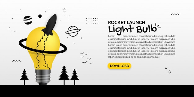 Rocket launching out from light bulb on white background, business start up concept Premium Vector