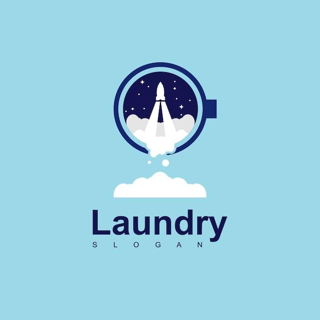 Rocket laundry logo design vector Premium Vector