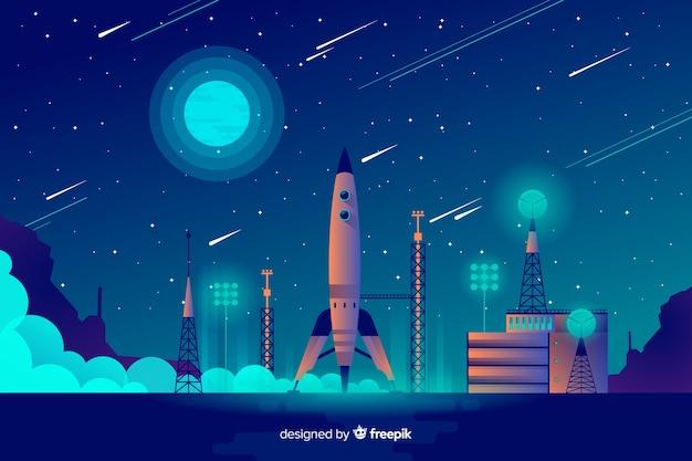 Ракета поднимается с фона Бесплатные векторы