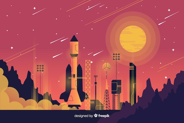 Rocket lifting off background Free Vector