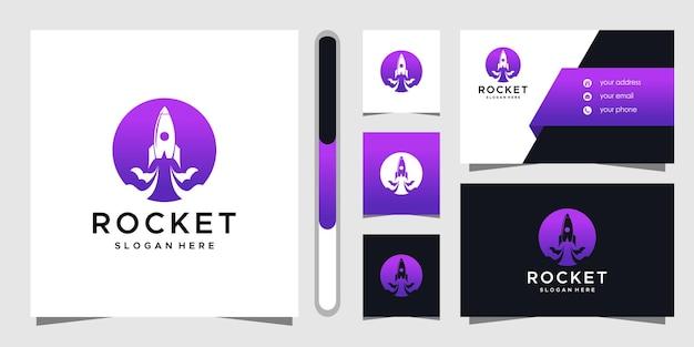 Rocket logo design and business card template. Premium Vector