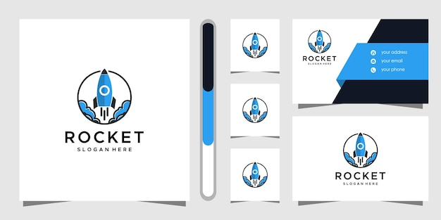 Rocket logo design and business card template. Premium Vector