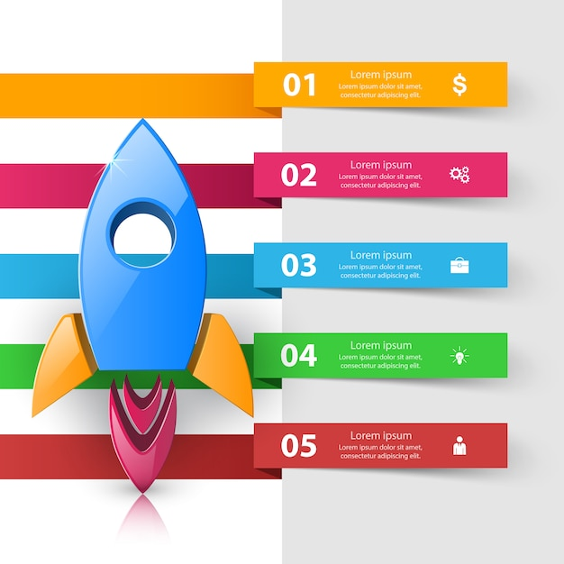 Rocket logo. infographic design template and marketing icons Premium Vector