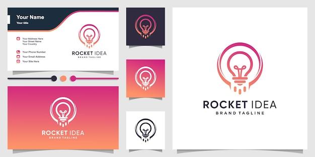 スマートなアイデアの概念と名刺とロケットのロゴ Premiumベクター