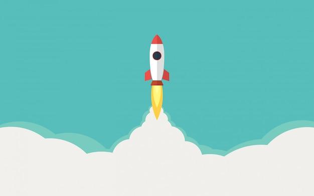 Ракета, запуск ракеты в плоском исполнении и иллюстрация голубого неба Premium векторы