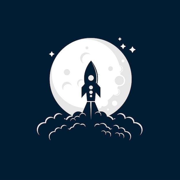 ロケットムーン打ち上げイラストロゴ Premiumベクター
