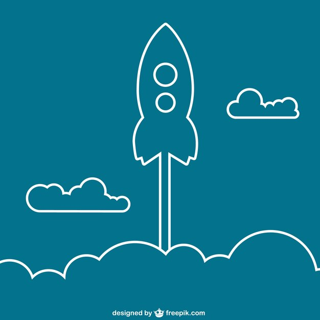 Rocket outline Free Vector