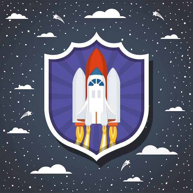 雲の上のロケットと先の尖った 無料ベクター