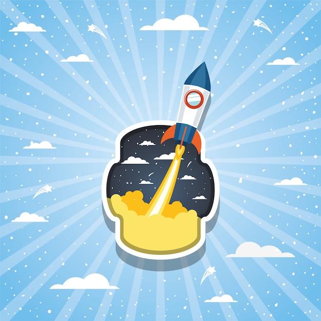 雲の上のロケットとストライプ 無料ベクター