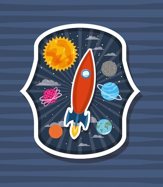 惑星とラベル上のロケット 無料ベクター