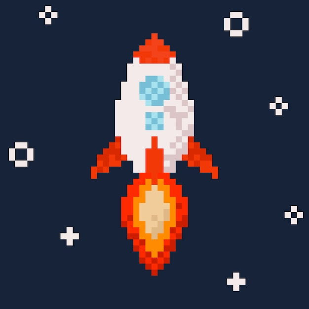 Rocket. Pixel Art Illustration.