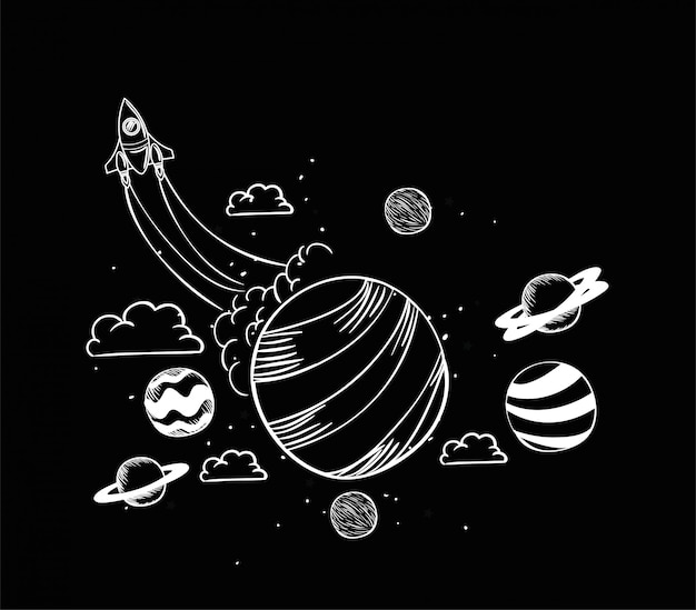 Rocket and planet draw Free Vector
