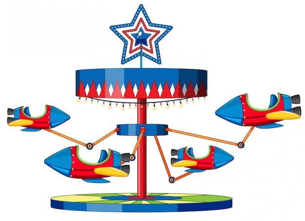 Rocket ride at fun fair on white Free Vector