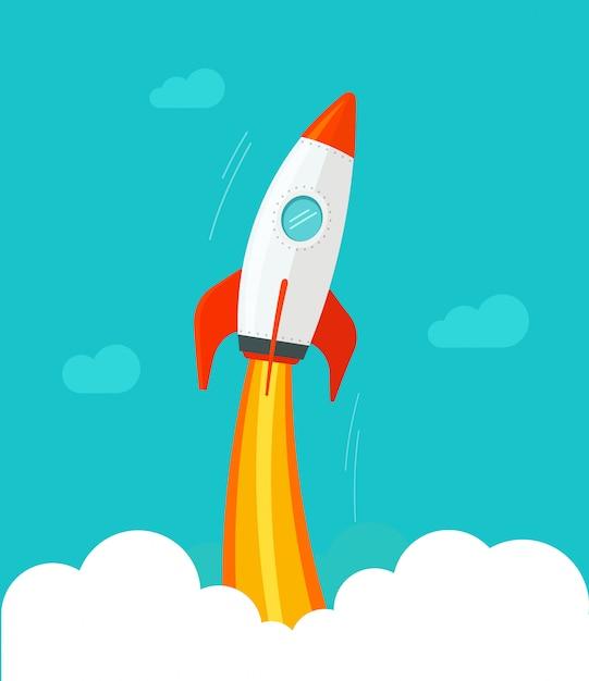 Rocket ship flying from cloud and sky  flat cartoon comic design Premium Vector