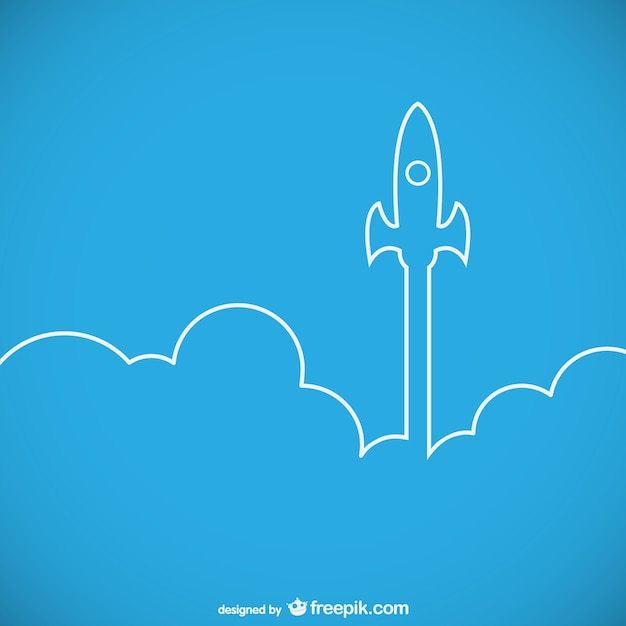 Rocket ship launch outline Free Vector