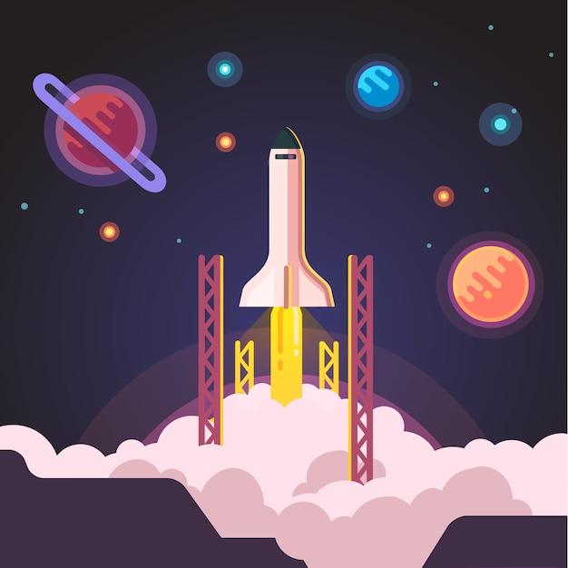 Rocket Ship Shuttle Launch Vector