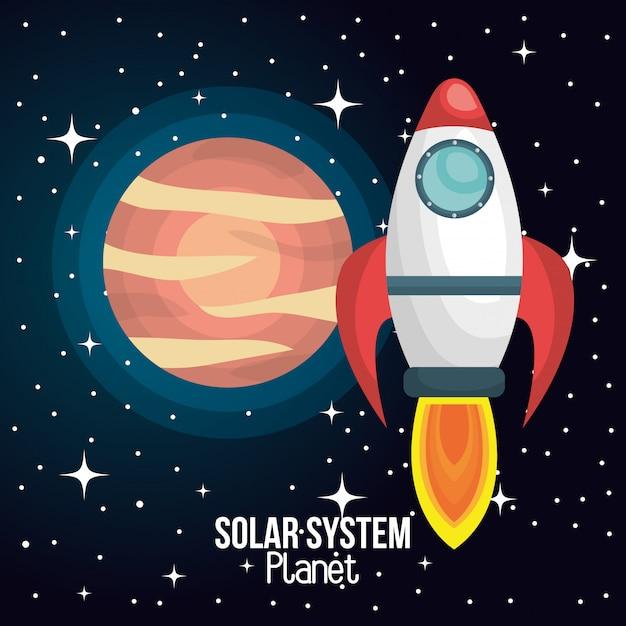 Rocket ship solar system isolated Premium Vector
