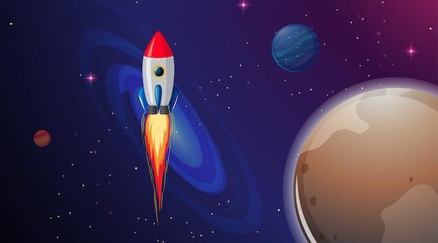 Rocket ship in space Free Vector