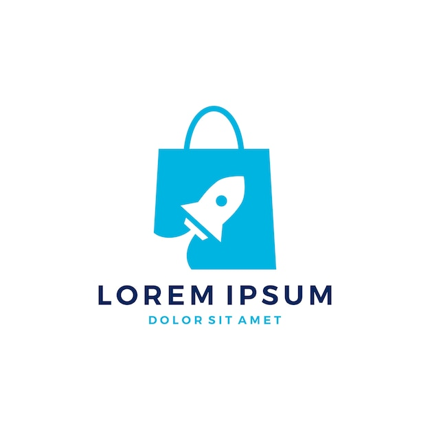 luxury promotion cheapest price Rocket shopping bag logo vector boost start up launch ...