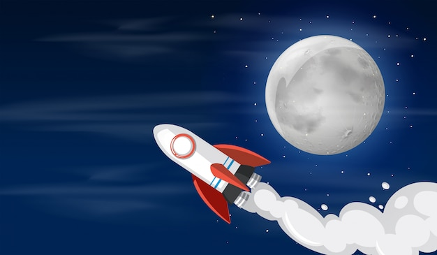 A rocket on the sky illustration Free Vector