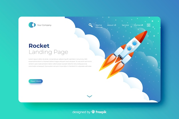 Rocket in the sky landing page Free Vector