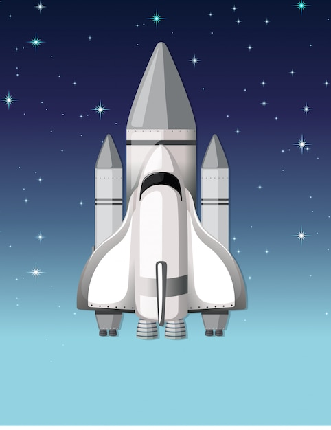 A rocket in the sky Free Vector