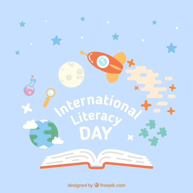Rocket in space to celebrate the literacy day Free Vector
