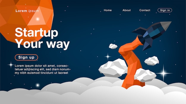 Rocket on space x for homepage Premium Vector