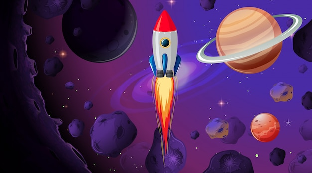 Rocket in the space Free Vector