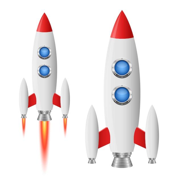Rocket spaceship   illustration  on white background Premium Vector