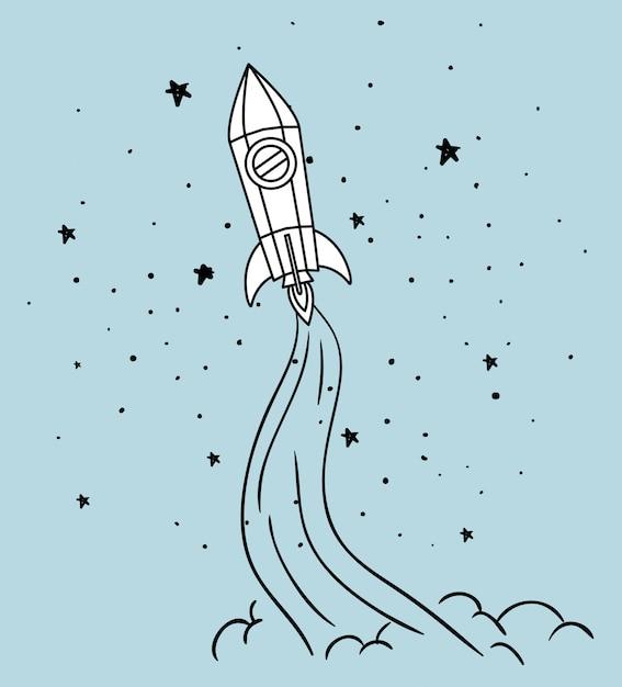 Rocket and stars Free Vector