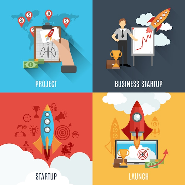 Rocket startup flat square composition poster Free Vector
