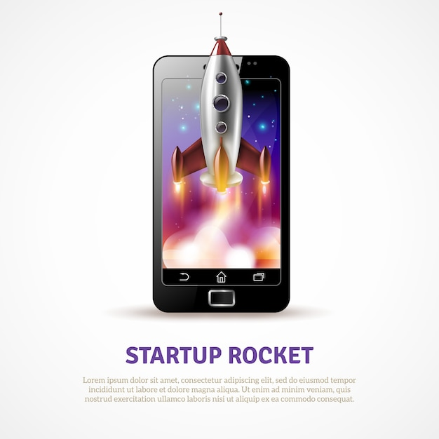Rocket startup poster Free Vector