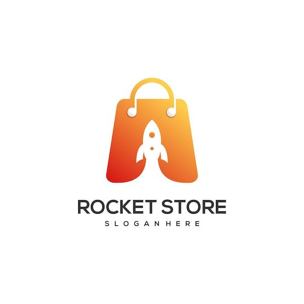 ロケットストアのロゴデザインテンプレート Premiumベクター