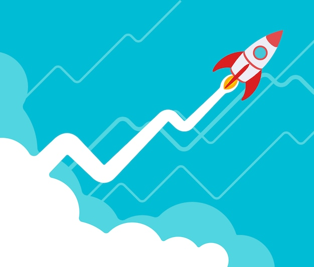 The rocket takes off against the blue background with the vapor trail in the form of a graph with positive growth. Premium Vector