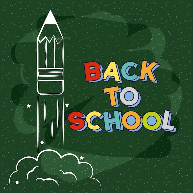 Rocket taking off drawn on chalkboard, back to school illustration Free Vector