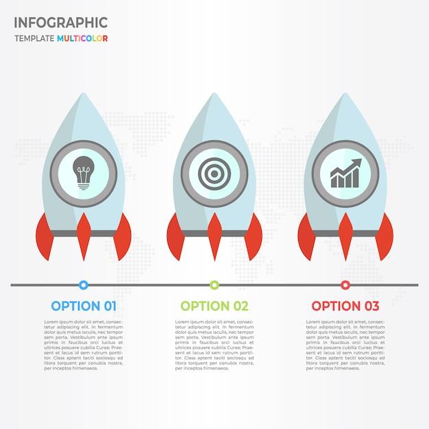 rocket timeline infographic 3 options vector premium download