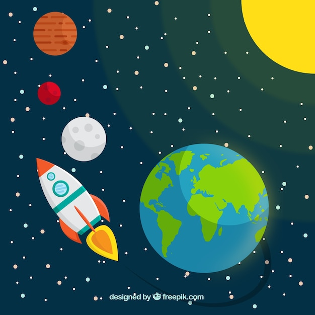 Rocket travelling in the space\ background