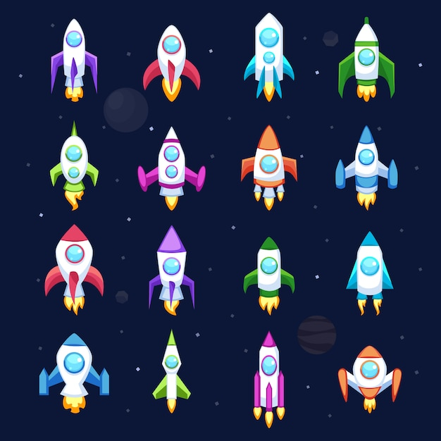 Rocket vector icons isolated Premium Vector