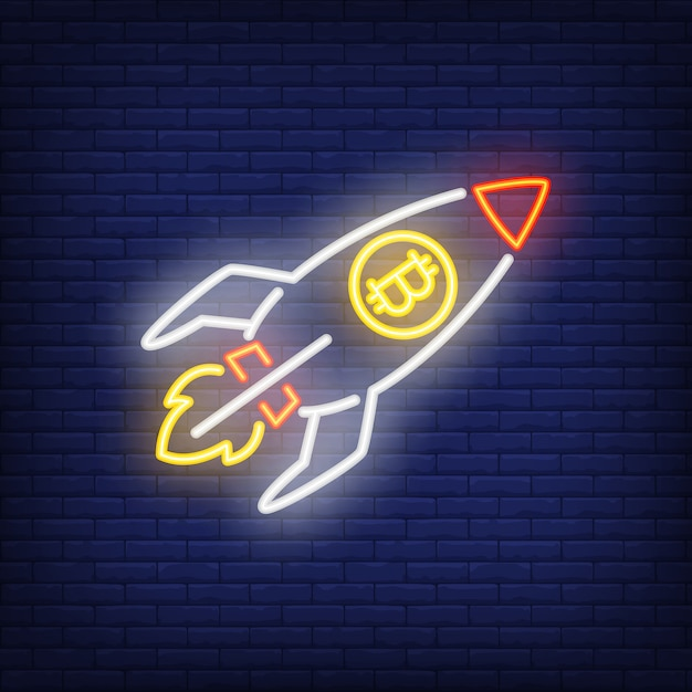 Rocket with bitcoin neon sign. launching spaceship with cryptocurrency symbol. Free Vector