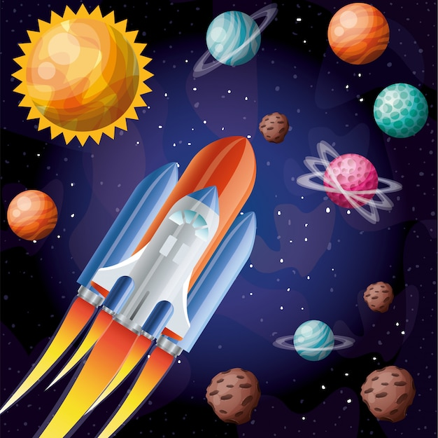 Rocket with flame and planets Free Vector