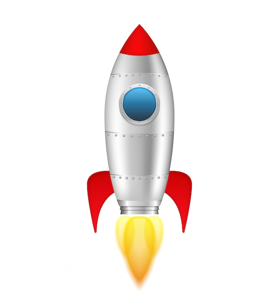 Rocket with flame on white background, vector eps10 illustration Premium Vector