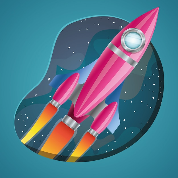 Rocket with flame Free Vector