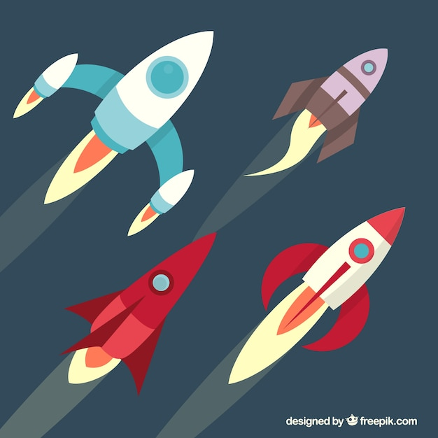 Rockets collection Free Vector