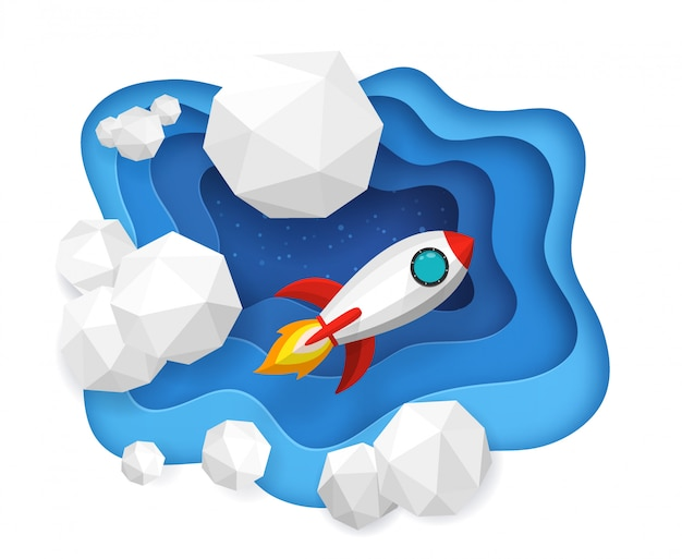 Rockets launch into the blue sky and clouds on background Premium Vector